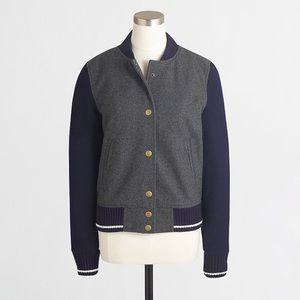 J Crew wool varsity bomber jacket